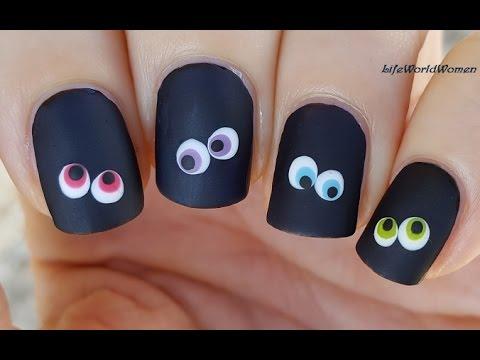 New black eye design Matte nail art