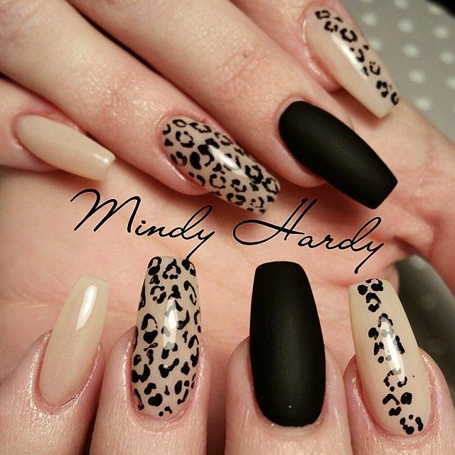 New black leopard Animal print nail art