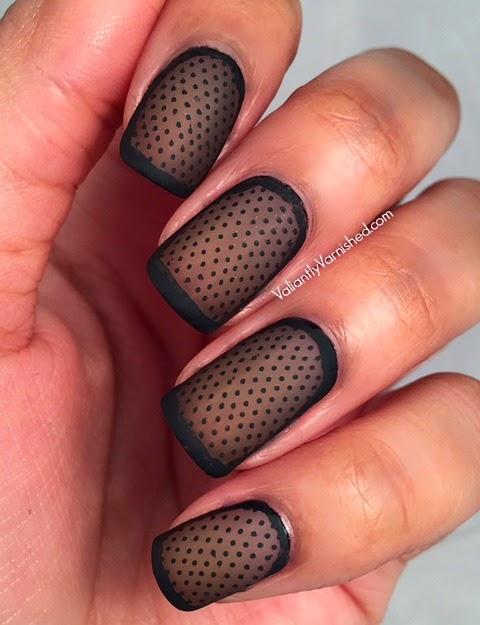 New black net stuff Matte nail art