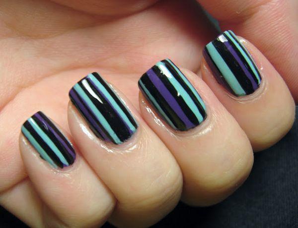 New black purple design Stripe nail art