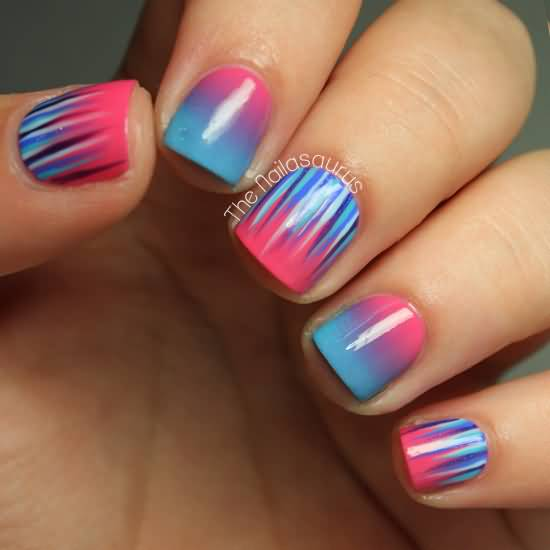 New blue & pick waterfall Contrast nail art