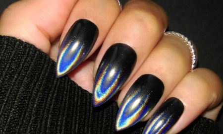 New look blue shining Edgy nail art