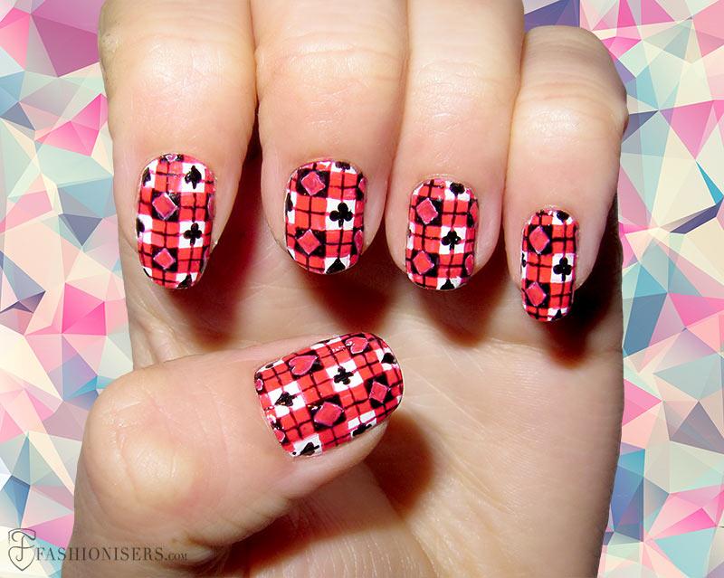 New peach black design Tiles nail art