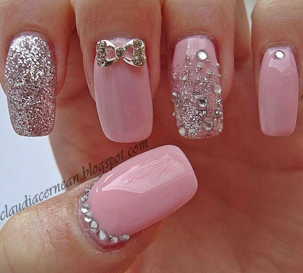 New pink glitter design Wedding nail art