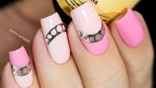 New pink mirror Color blocking nail art