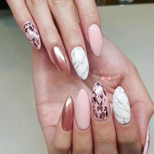 New print design Marble nail art