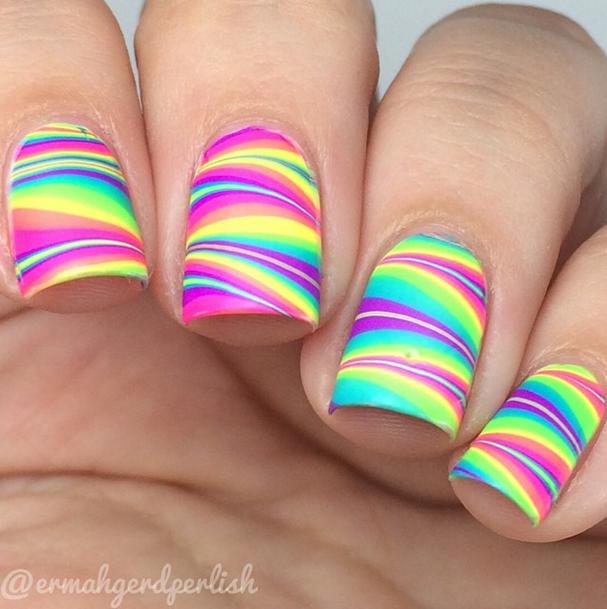 New rainbow design Stripe nail art