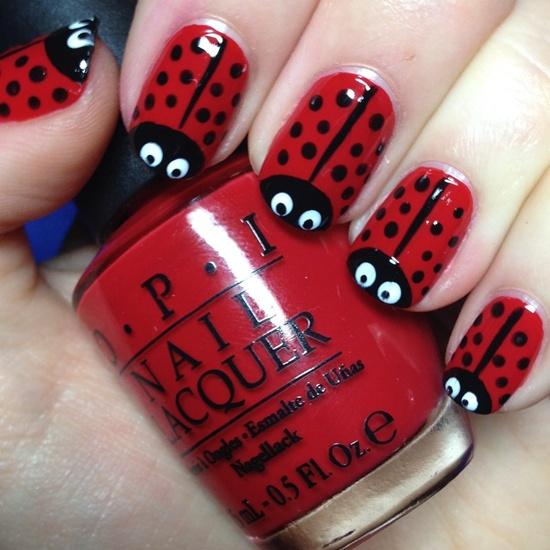 New romantic red black Polka dots nail art