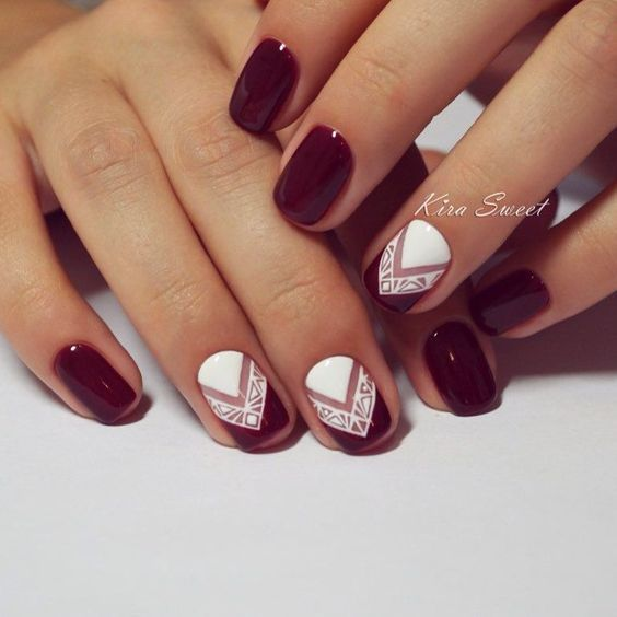 New theme dark red Contrast nail art