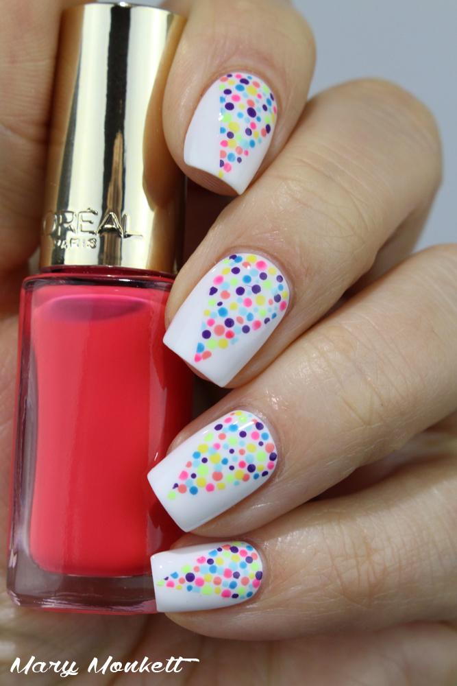 New white design Polka dots nail art