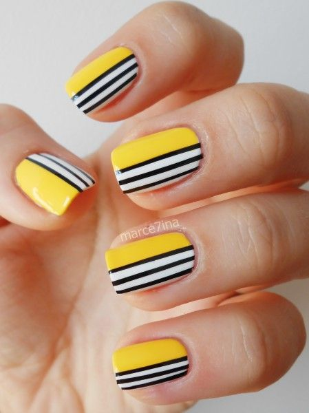 New yellow black white design Three color nail art