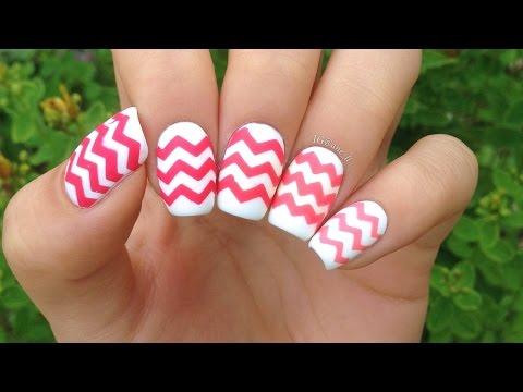 Newly zigzag Chevron design nail art