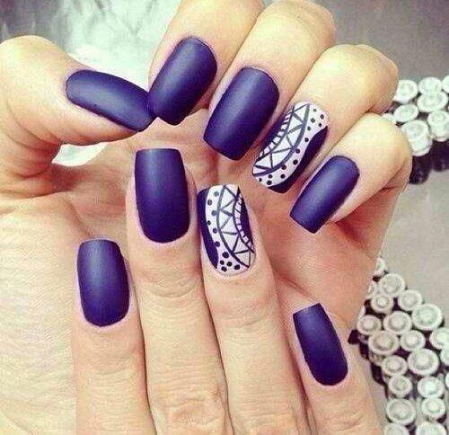 Original blue print Matte nail art
