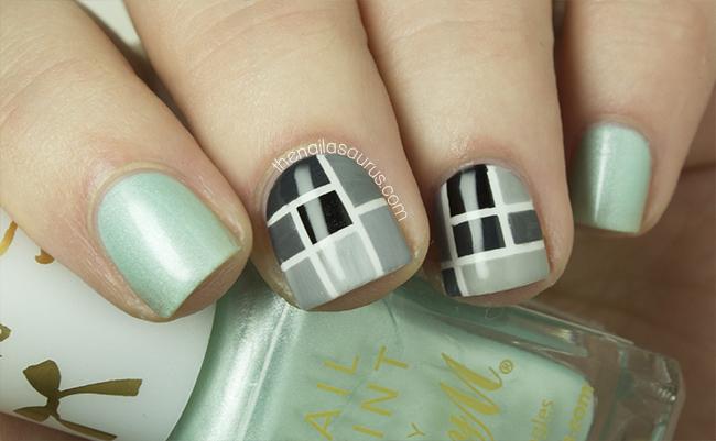 Original grey black design Tiles nail art