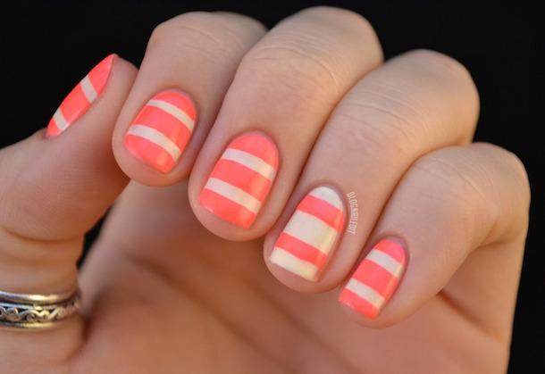Original peach white design Stripe nail art