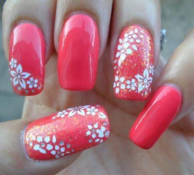 Original pink design for bridal Wedding nail art