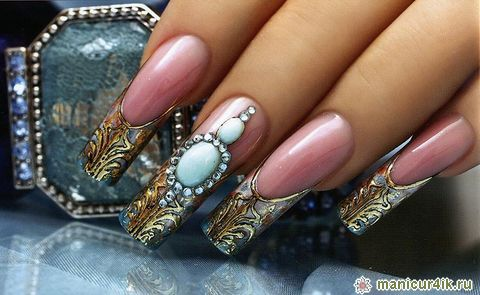 Original pink traditional Stones nail art
