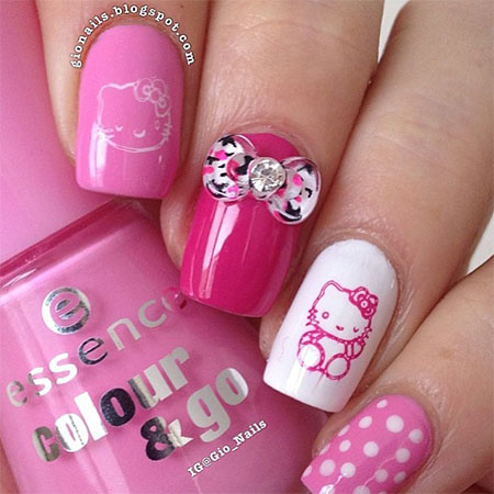 Orignal pink Hello kitty nail art