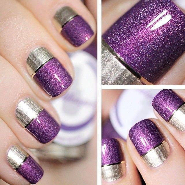 Original purple glitter Color blocking nail art