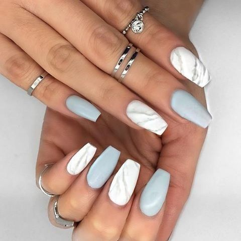 Original white grey matte Marble nail art