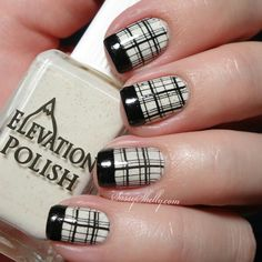Perfect black floral design Tiles nail art