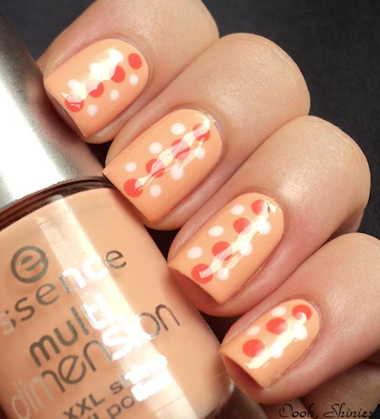 Perfect orange peach Polka dots nail art