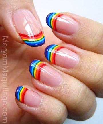 Perfect rainbow gel Stripe nail art