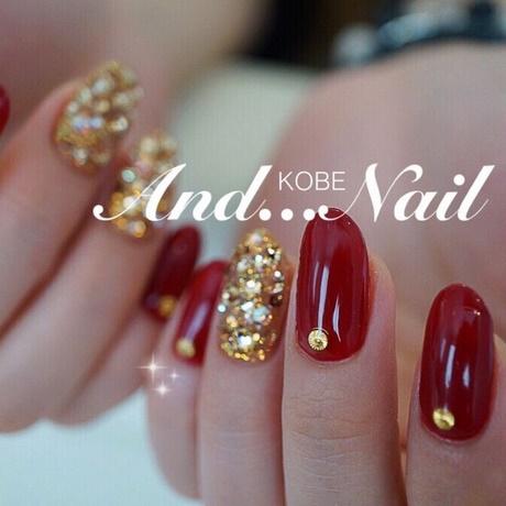 Perfect red golden design Wedding nail art