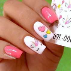 Pink girlish Heart nail art