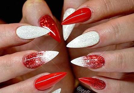 Pretty Red & white Christmas nail art