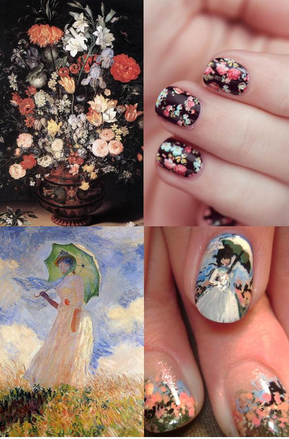 Pretty colorful floral Contrast nail art