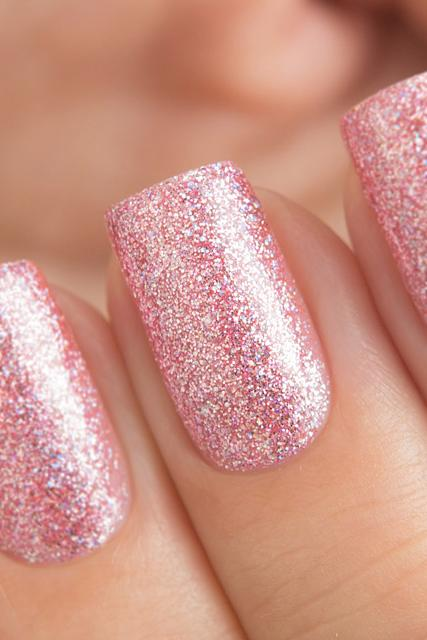 Pretty cool pink girlish Glitter nail art