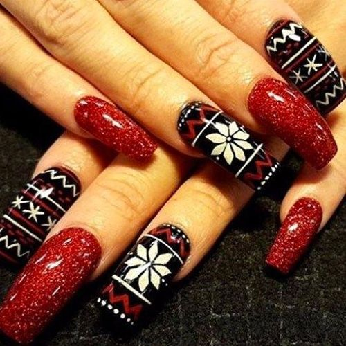 Pretty long red dress Christmas nail art