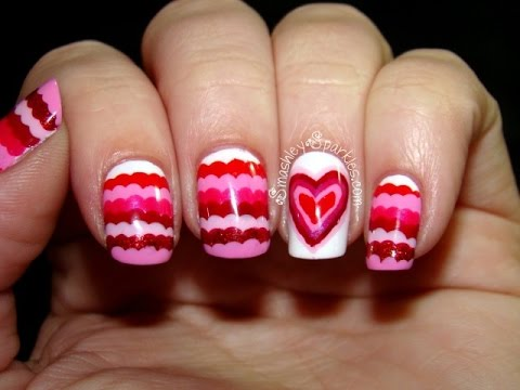 Pretty pink zigzag Heart nail art
