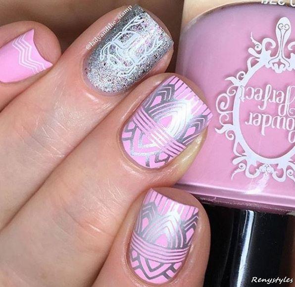 Pretty baby pink print Classy nail art