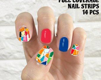Pretty blue red design Tiles nail art