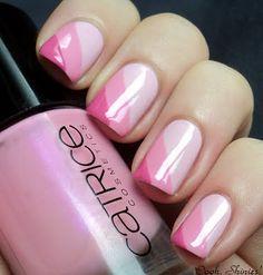 Pretty pink shaded print Three color nail art