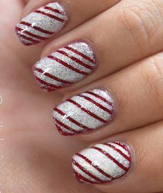 Pretty red white Stripe nail art