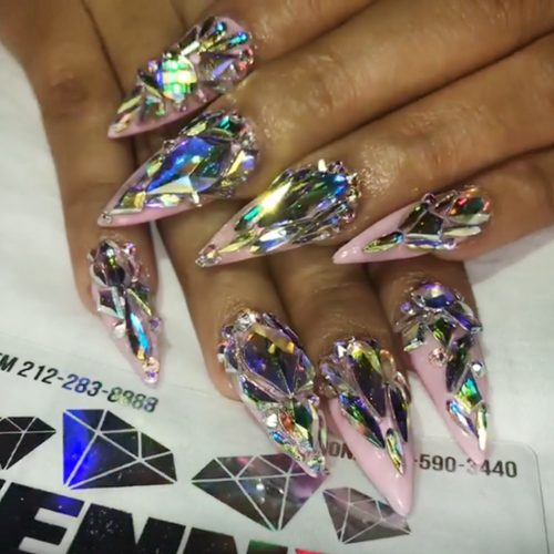 Proper pink sharp Stones nail art