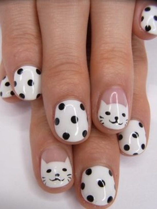 Proper white black dotted Hello kitty nail art