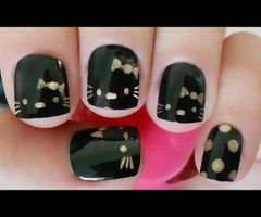 Proper black Hello kitty nail art