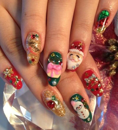 Red & green Santa with stars Christmas nail art
