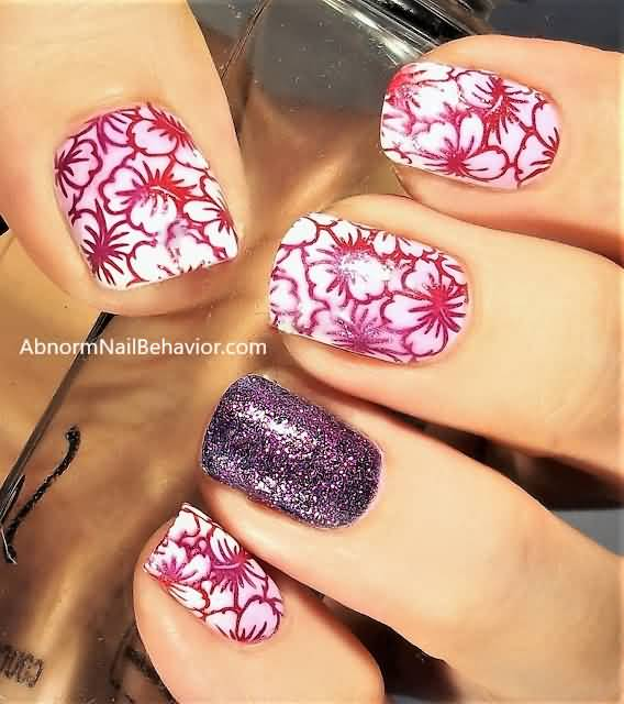 Romantic flowers Contrast nail art