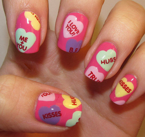 Romantic i love you Heart nail art