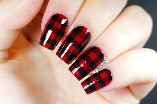 Romantic red black combo pattern Tiles nail art