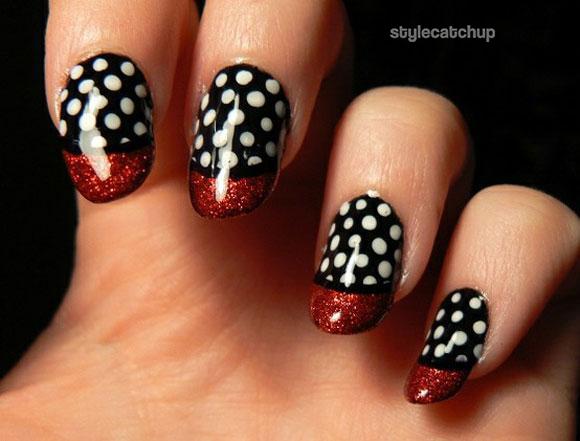 Romantic red black white glitter Polka dots nail art