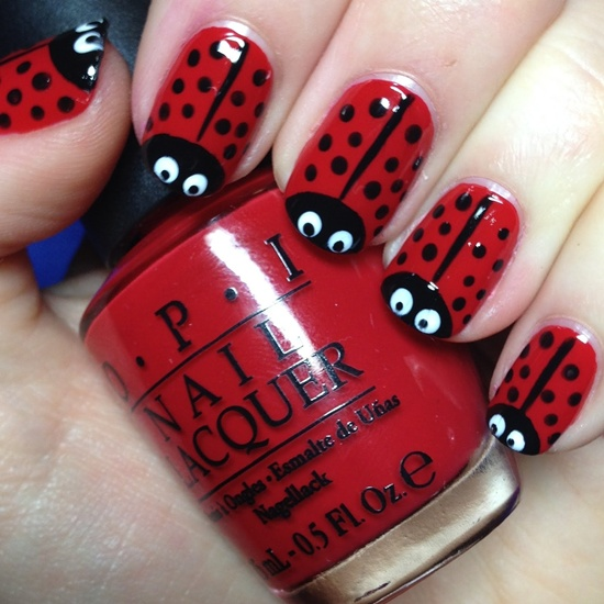 Romantic red dotted Contrast nail art