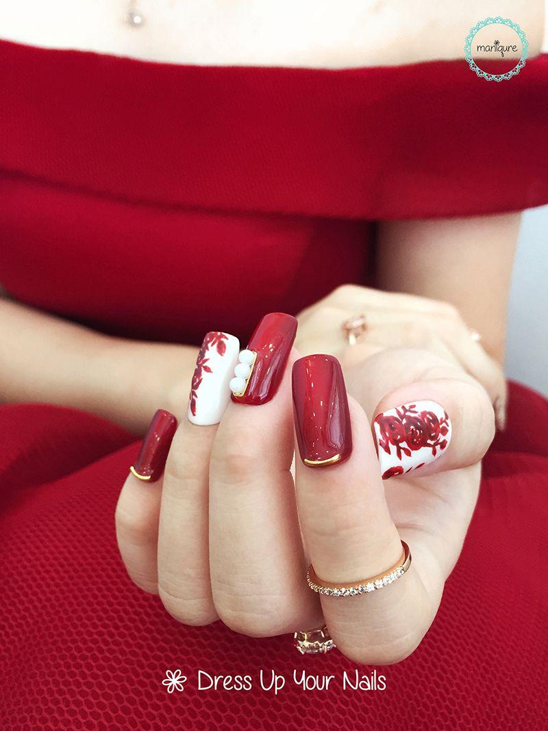 Romantic red white design Wedding nail art