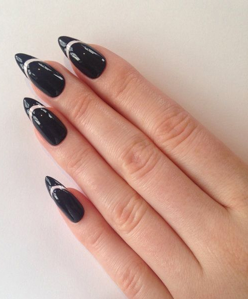 Sharp black gel Classy nail art