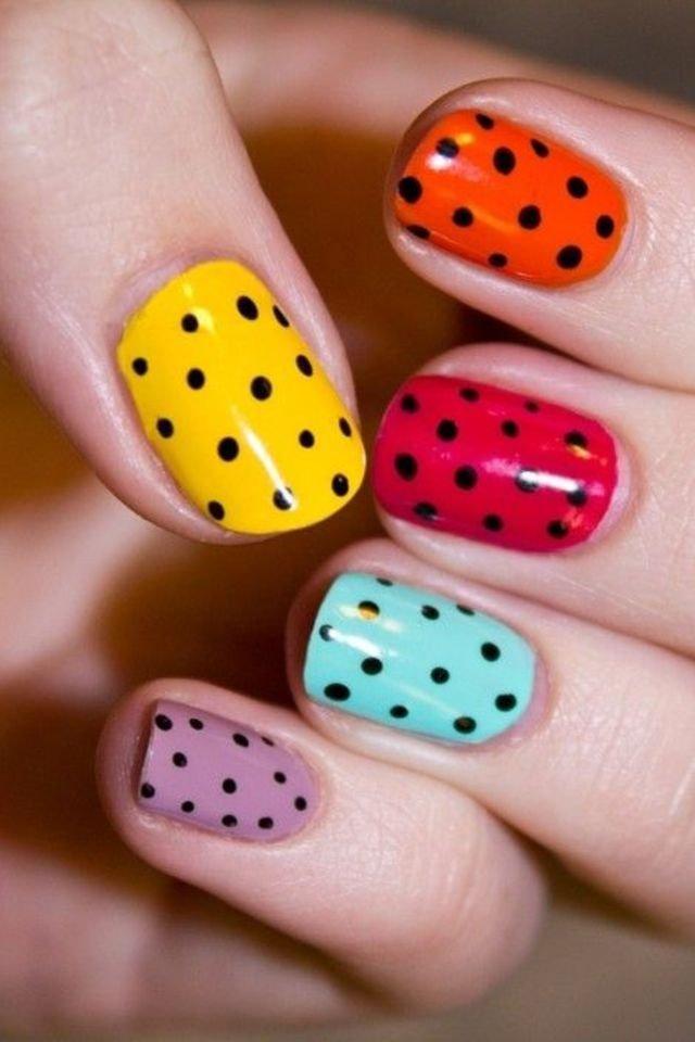 Short colorful black Polka dots nail art